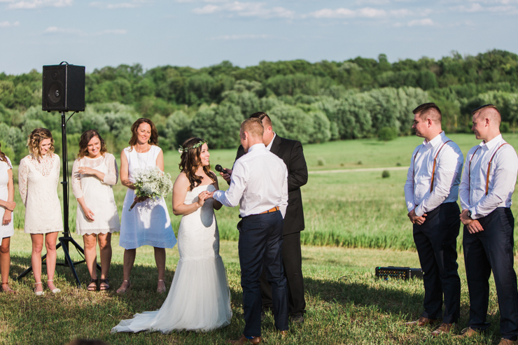 bride and groom during rustic chic boho outdoor countryside wedding ceremony