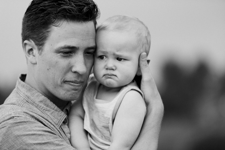 Dad and one year old son black and white photography