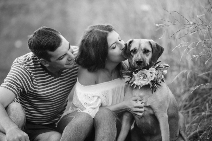 Intimate Countryside engagement session with their dog