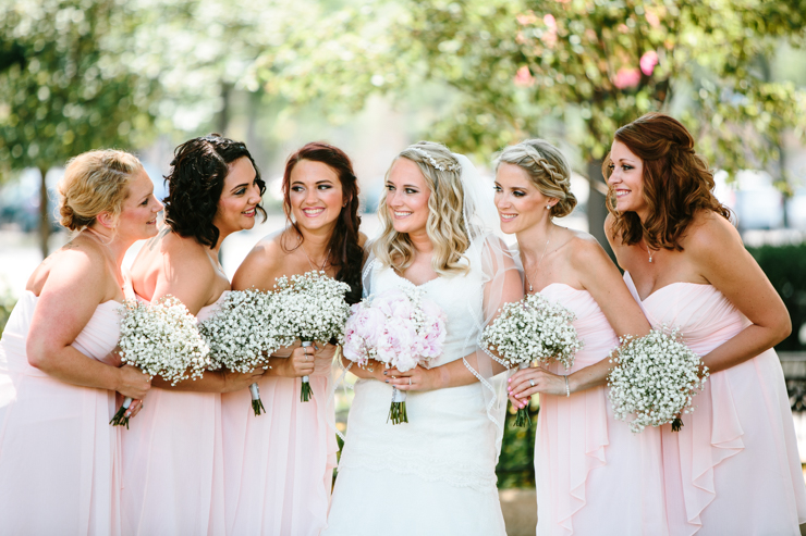 Bride with her bridesmaids Chicago Illinois