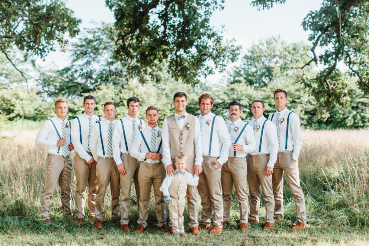 Groom with his groomsmen on the farm