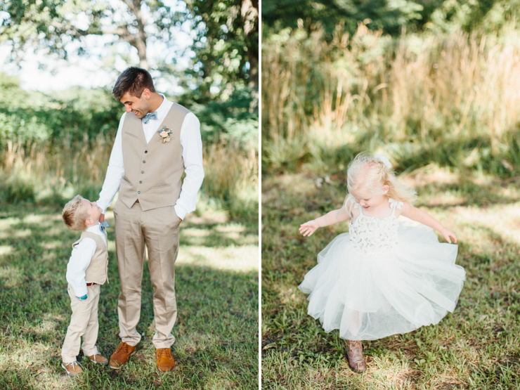 Groom with ring bearer and flower girl