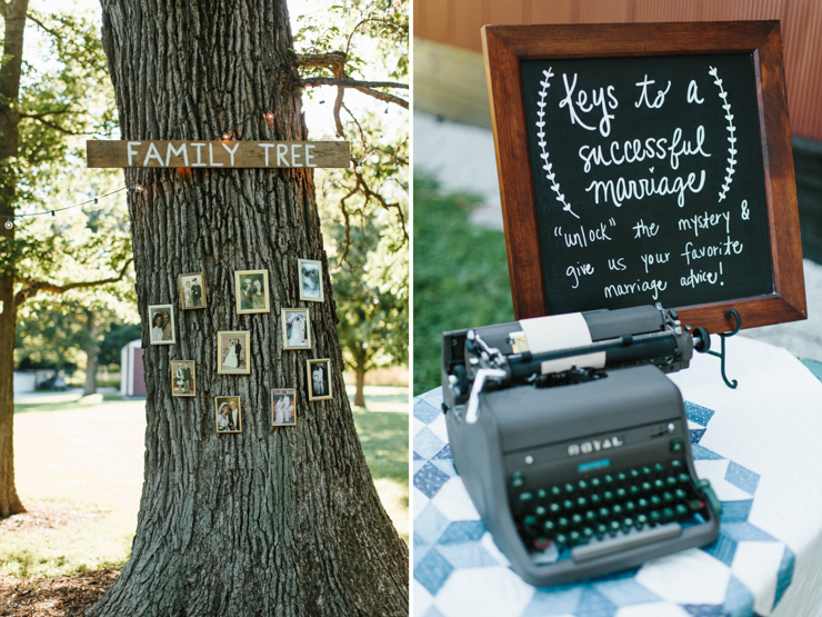 Outdoor wedding decor on grandparents' farm
