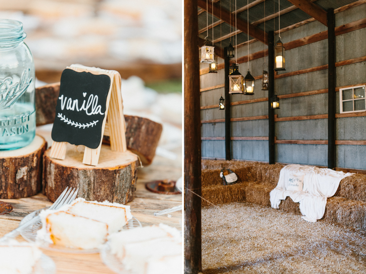 Cake and sweets wedding reception at the farm in a barn wedding decor and detail photos