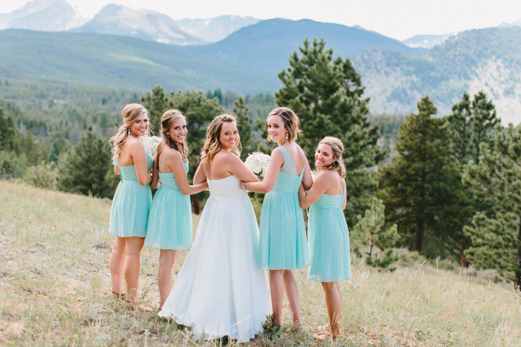 Bridesmaids in the mountains at YMCA of the Rockies, Overlook Chapel