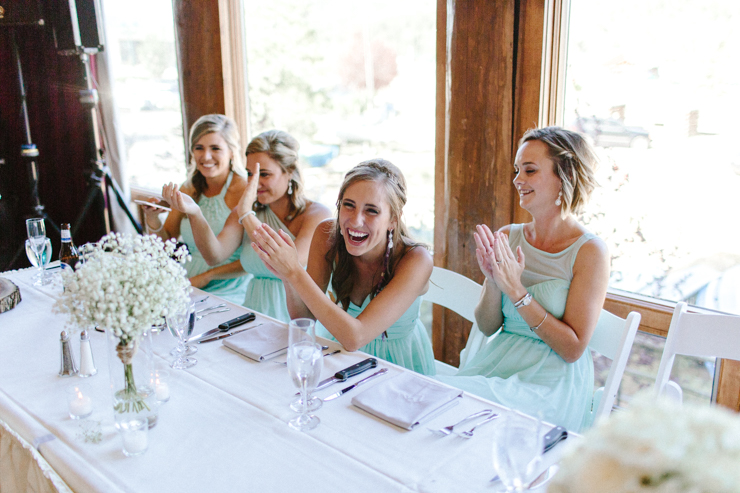 Maid of Honor wedding toast at wedding reception at Estes Park Resort, Colorado