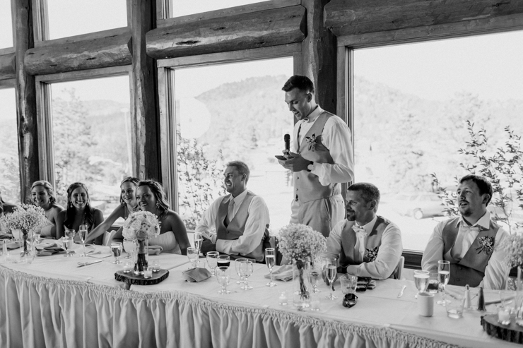 Best Man wedding toast at wedding reception at Estes Park Resort, Colorado