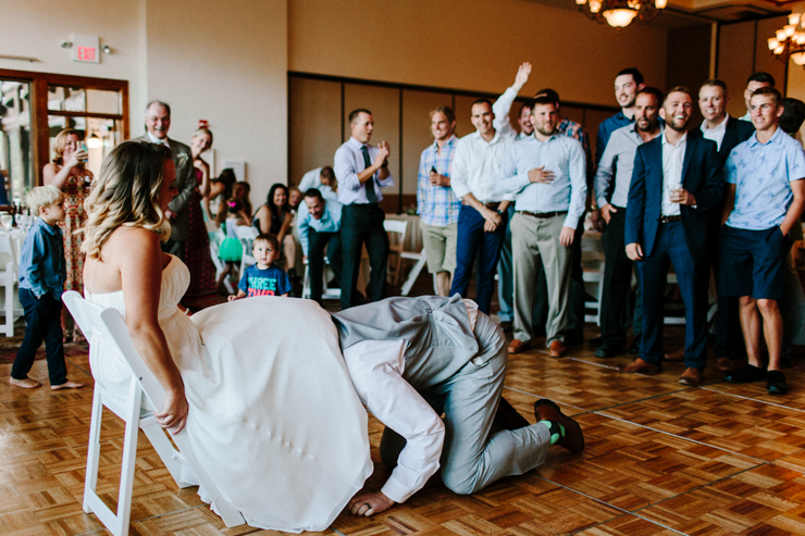 Garter toss at wedding reception at Estes Park Resort, Colorado