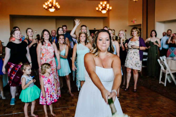 Bouquet toss at wedding reception at Estes Park Resort, Colorado