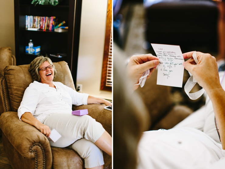 Mother of the bride crying when reading a letter from her daughter to her father