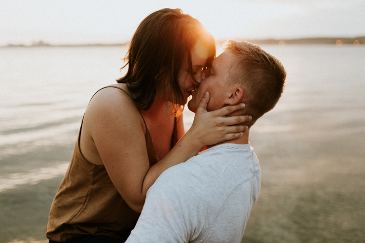 Intimate couple photography of a married couple outdoor on the beach
