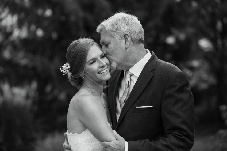Bride with her father on the day of her wedding