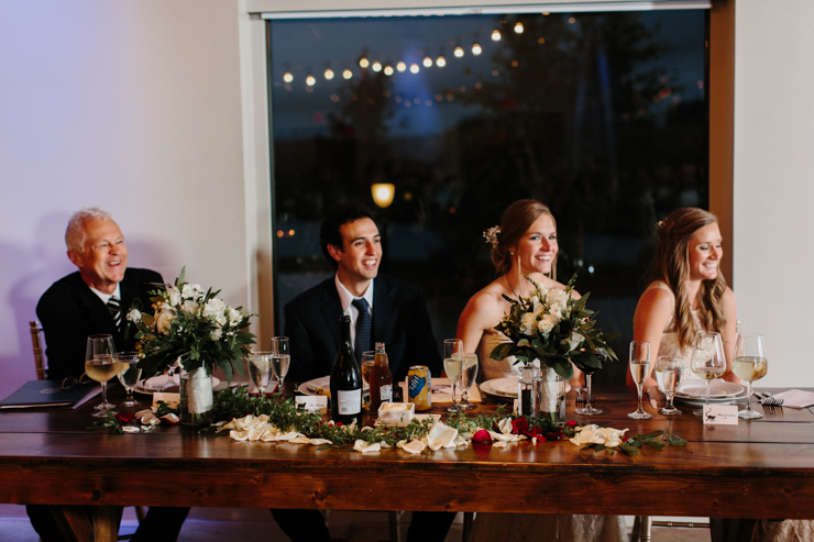 Bridal party table at Pear Tree Estate Wedding Reception