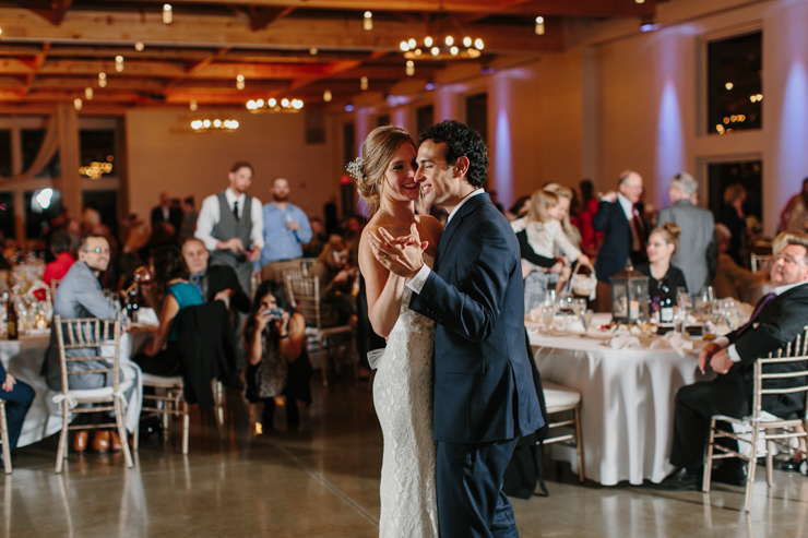 Bride and Groom and their first dance at Pear Tree Estate Champaign, IL