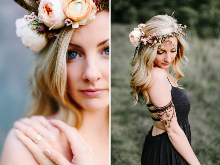 Girl Wearing Bohemian Free People Gown and Splendor of Eden Flower Crown