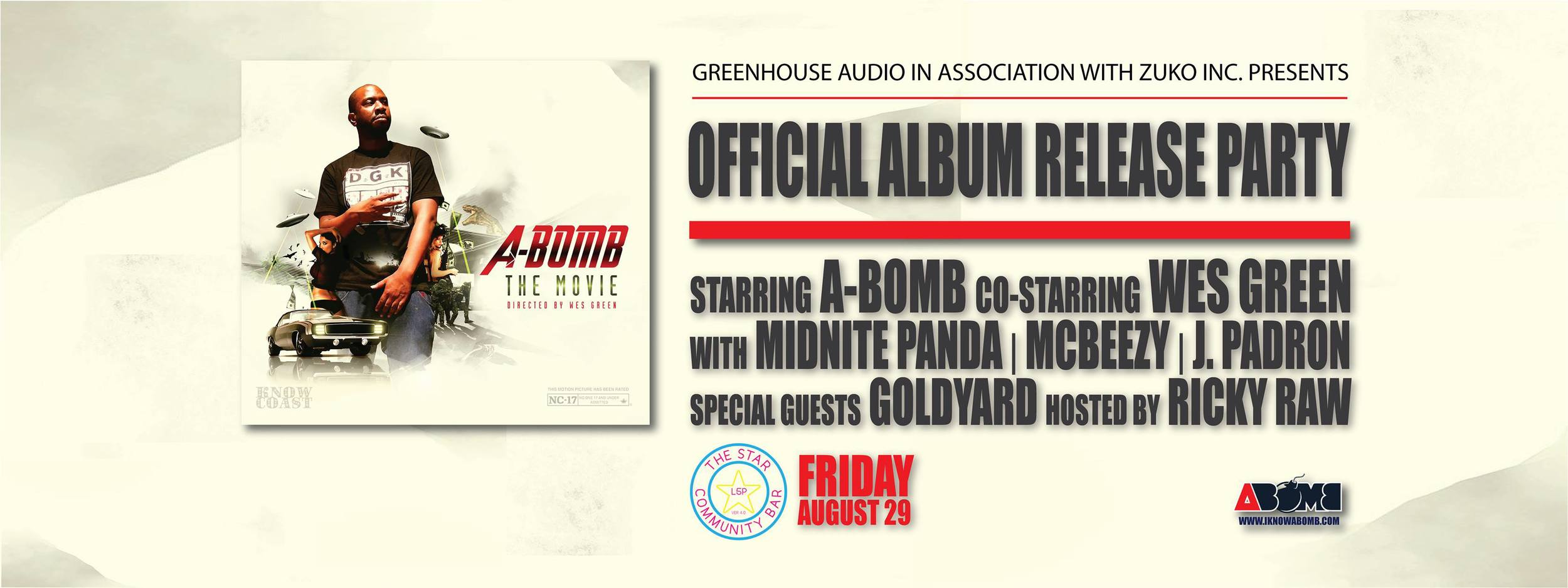 """A-BOMB """"THE MOVIE"""" Record Release Party— August 29, 2014 — The Star Community Bar, Atlanta, GA"""