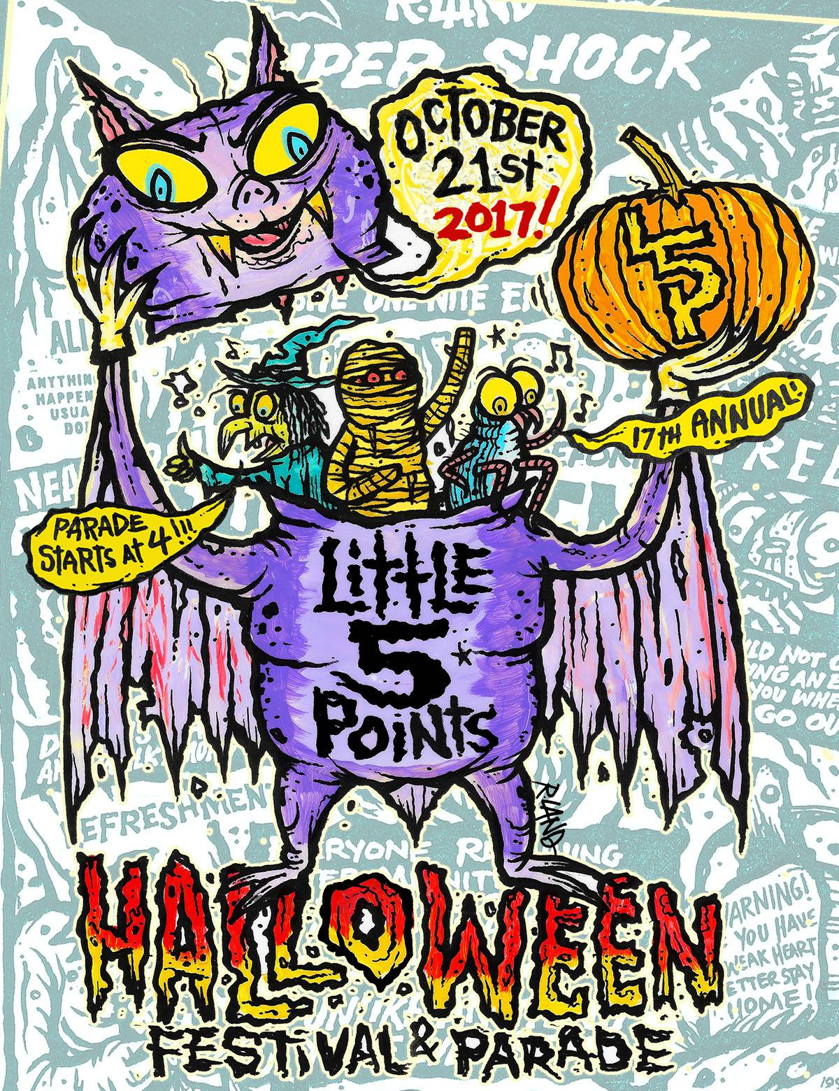 Live Music Schedule:  Star Bar Stage (located behind Star Bar)  3:00pm Crypt 24  4:00pm Little Five Points Halloween Parade  5:30pm The Dirty Doors: A Tribute  7:15pm Elzig  8:15pm Night Terrors  9:30pm Casket Creatures     Finley Plaza Stage (located in front of Criminal Records)  12:00pm BlackFox   1:00pm The Scragglers   2:00pm Sash The Bash   3:00pm AM Gold   4:00pm Little Five Points Halloween Parade   5:30pm Southern Ska Syndicate   6:45pm The Delusionaires   7:45pm Cousin Dan   8:45pm Baby Baby    Star Bar Venue Stage   5:30pm DJ Romeo Cologne  10:00pm DJ Cristo Disco & Prince Presto