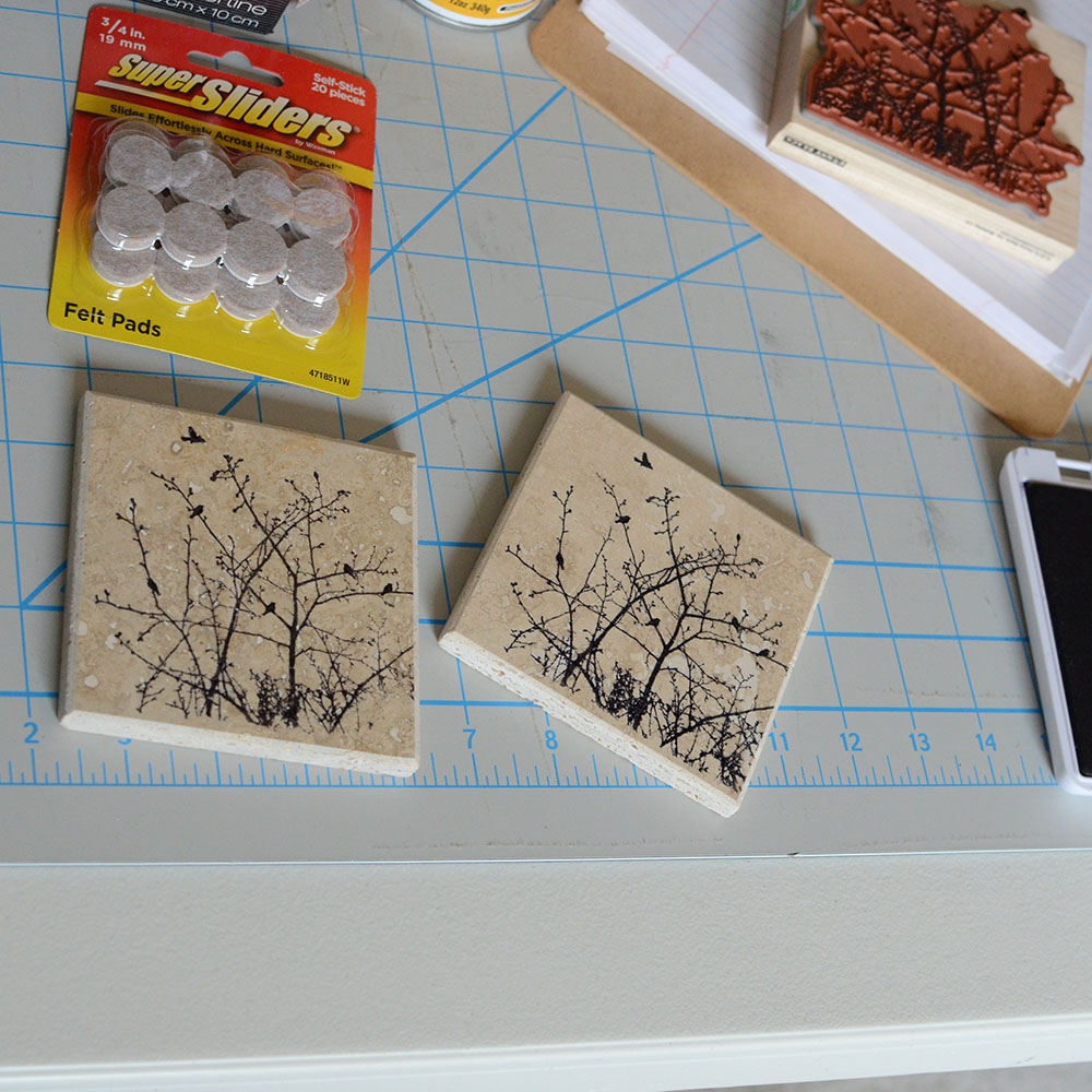 3. Carefully line up the coaster to your stamp and press hard.
