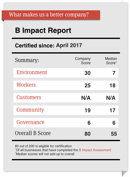 Our summary B Impact report for 2017. View more detail  here .