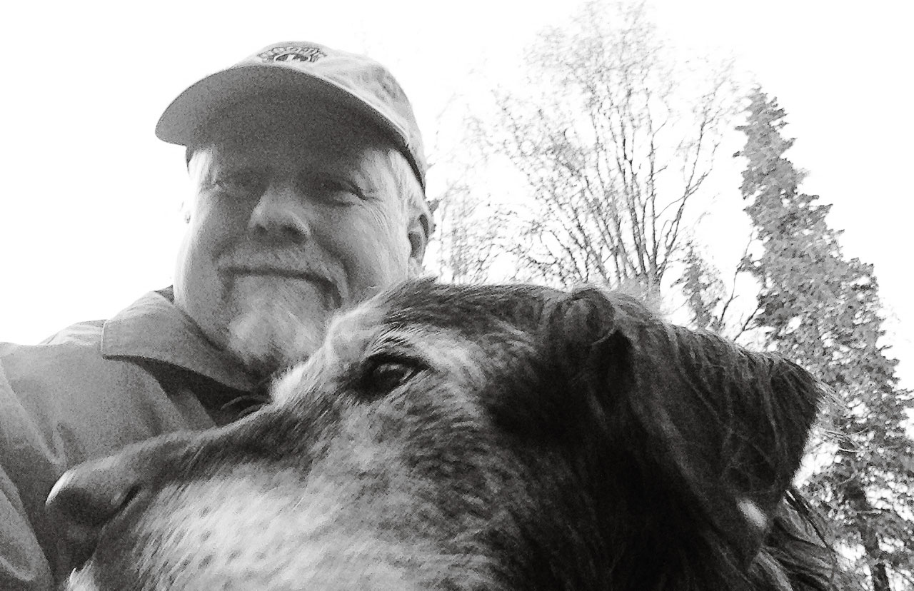 Grizzabella and me - a selfie captured early this evening during our stroll.