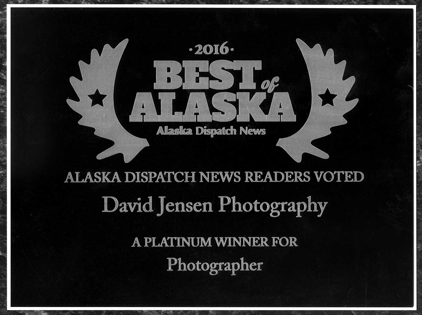 A huge thank you to everyone at Alaska Dispatch News - staff and subscribers - for voting the studio  Best of Alaska 2016 - Platinum.   I'm proud to call Alaska my life-long home of nearly 60 years.  And it's such a huge honor to continue receiving your support of my photography work since 1989.