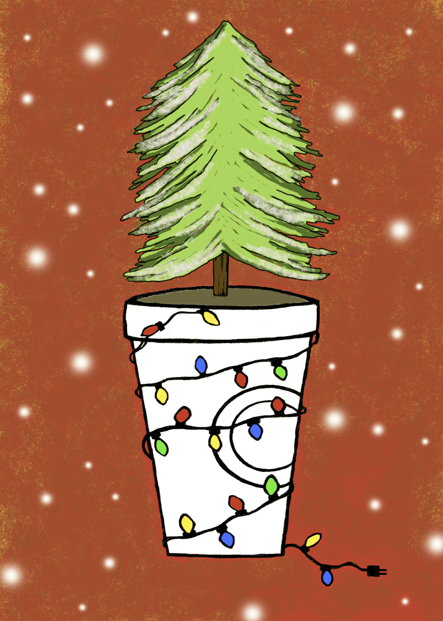 Cup with tree and lights