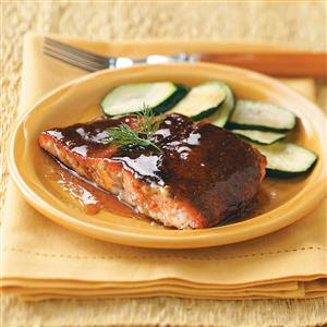 Baked or Grilled Salmon - Wash salmon (with or without skin). If with skin, place skin side down. Generously squeeze fresh lemon juice over salmon.Lightly spray or rub a light sheen of virgin olive oil over salmon. Season salmon with your favorite seasoning (or you may use a light sprinkle of the following seasonings:salmon seasoning, Roasted Garlic and Herb, parsley flakes and Granulated Garlic).If baking, place several lemon wedges over the salmon and place several cuts of butter on top of salmon.. Bake or grill salmon without turning. Be careful not to overcook.Once cooked, lightly pour or brush J. Lee's sauce over salmon.o For a sweet-spicy taste, use J. Lee's Sweet Heat or Spicy Gourmet BBQ Sauce.o For regular BBQ taste use J. Lee's Original or Diabetic Friendly BBQ Sauce.o For a little heat without discoloring of food, use J. Lee's Clearly Hot Sauce (Pepper Sauce)