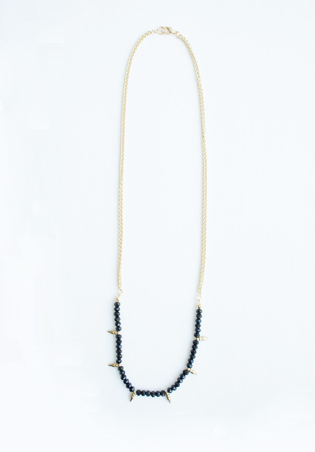 Spikes black swarovski  necklace
