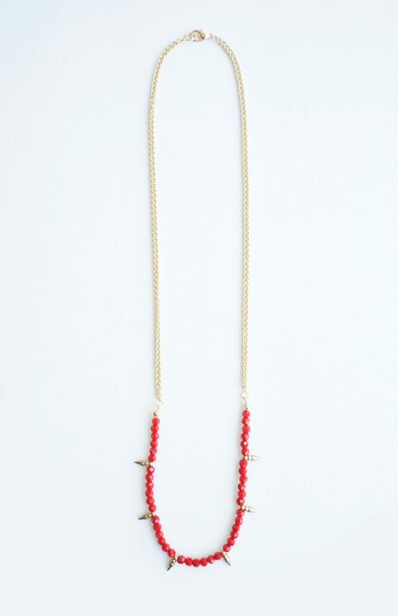 Red Spikes swarovski  necklace