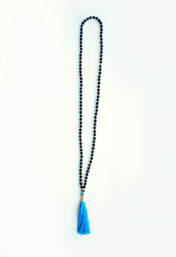 Blue tassel long necklace