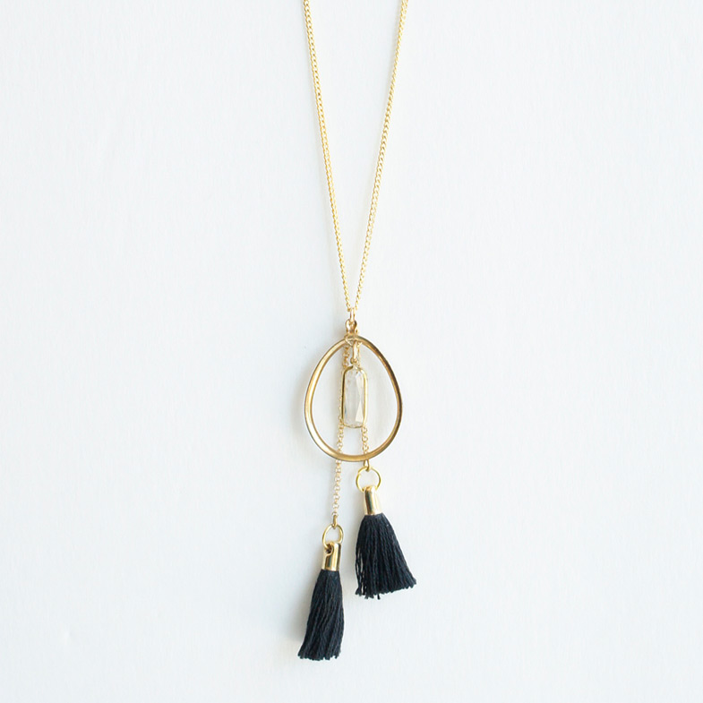 Double tassel long necklace Black