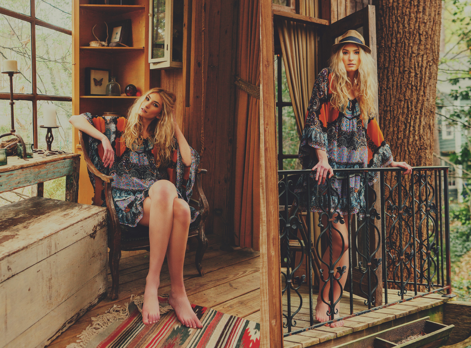 Hannah Johnson: Factor Women  Styled by: Hannah Johnson  Hannah is a natural model and a natural poser. The colors and tones of her dress really melded well with the wood and the textures of this treehouse living room.