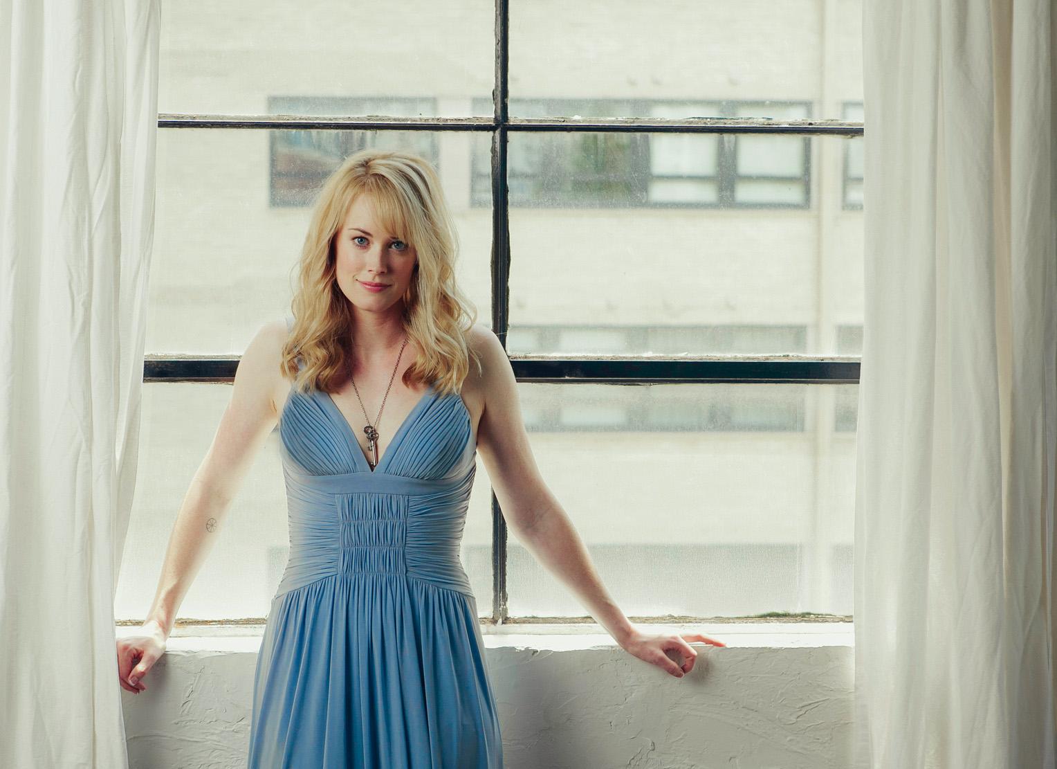 Abigail Hawk - classic blue dress