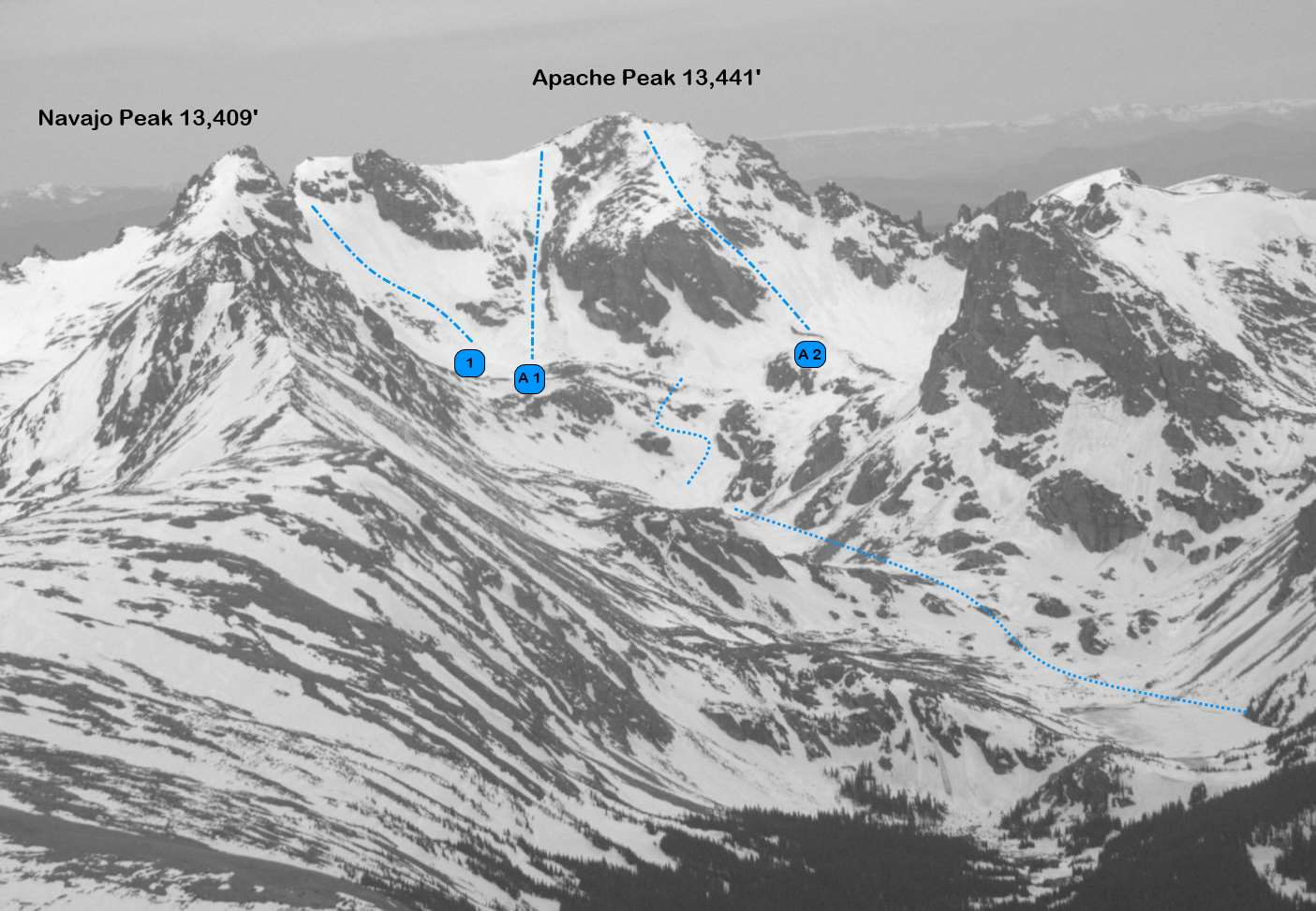 Navajo Peak and Apache Peak from the east. (A1 and 2 are routes on Apache) Photo: Rob Writz