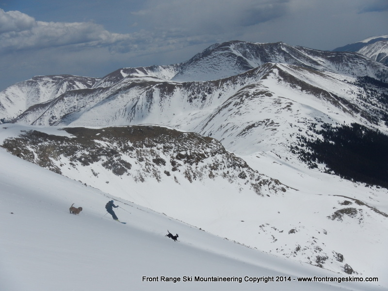 Skiing and running the lower part of the Southeast Face.