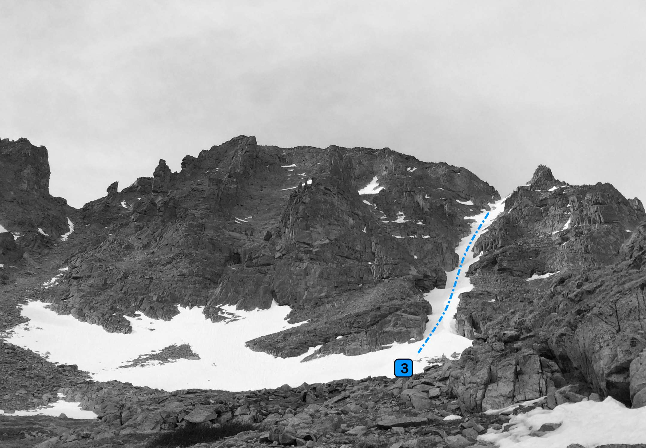 North Couloir from the northwest in Pawnee Lake Basin.