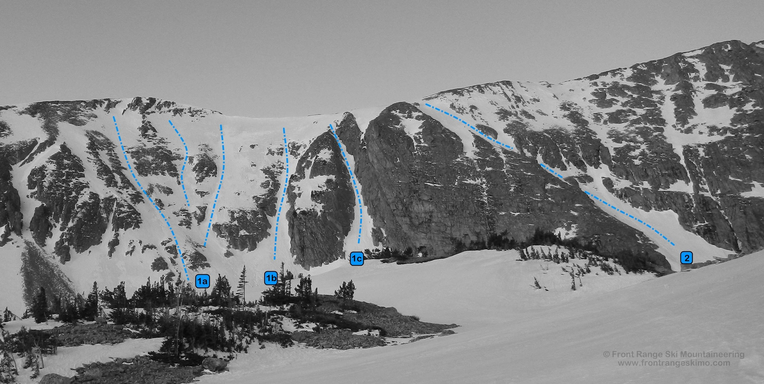 Little Pawnee Headwall from the north. Photo: Rob Writz