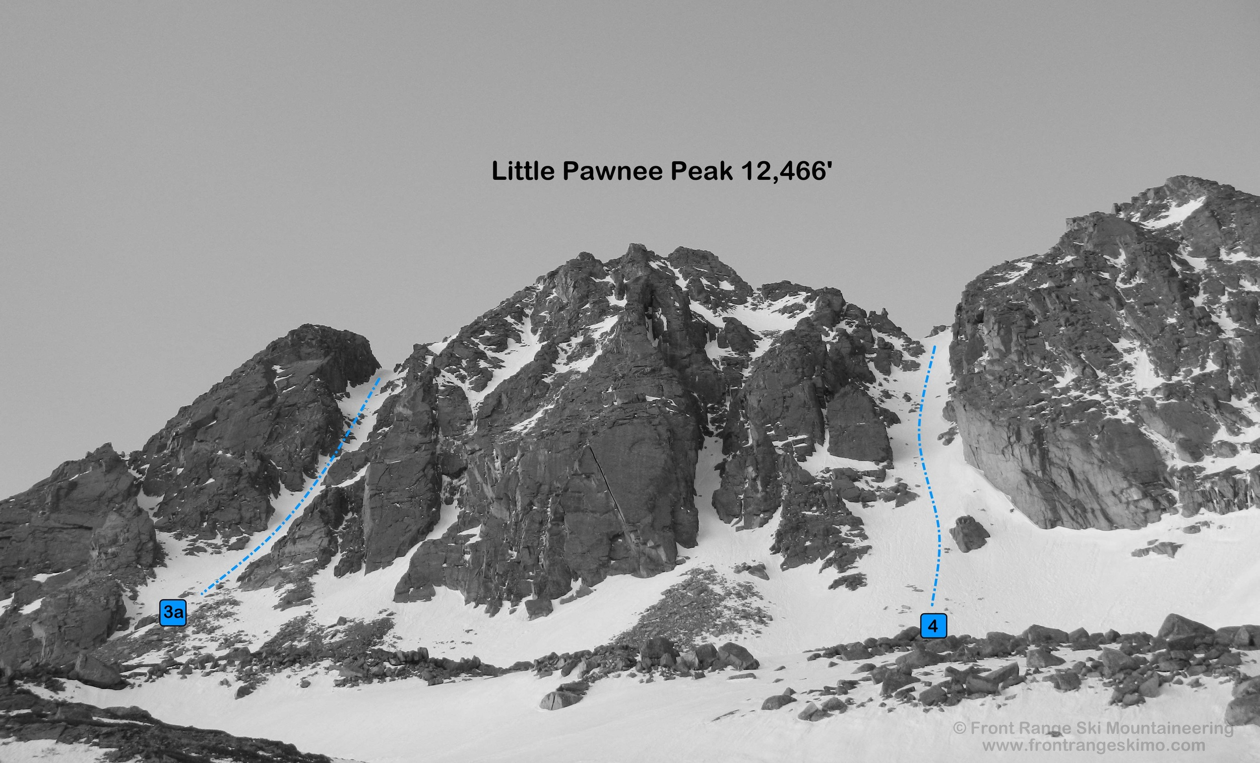 Little Pawnee North Couloirs from Blue Lake (north).