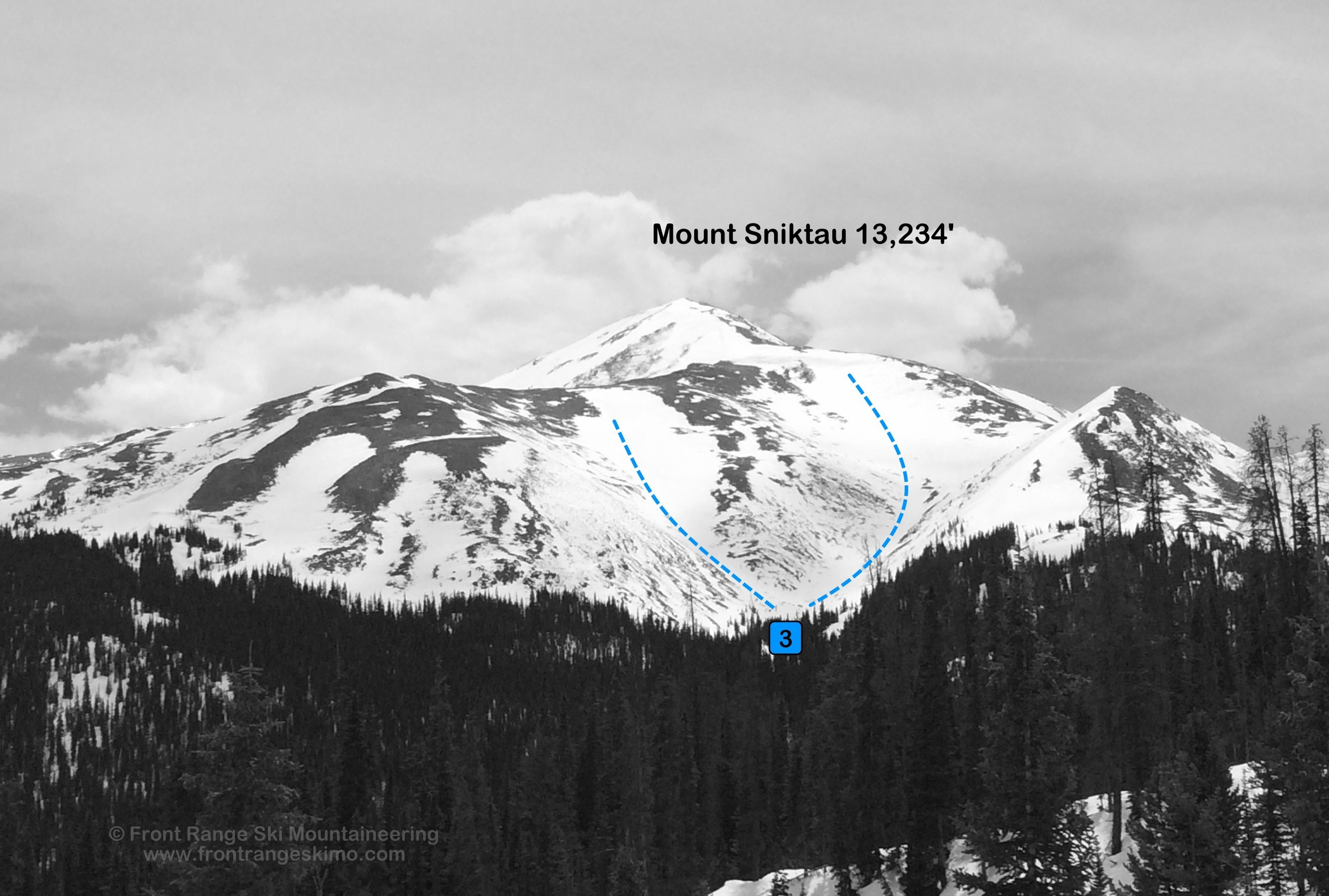 Mount Sniktau North Bowl from the north.  Photo: Rob Writz