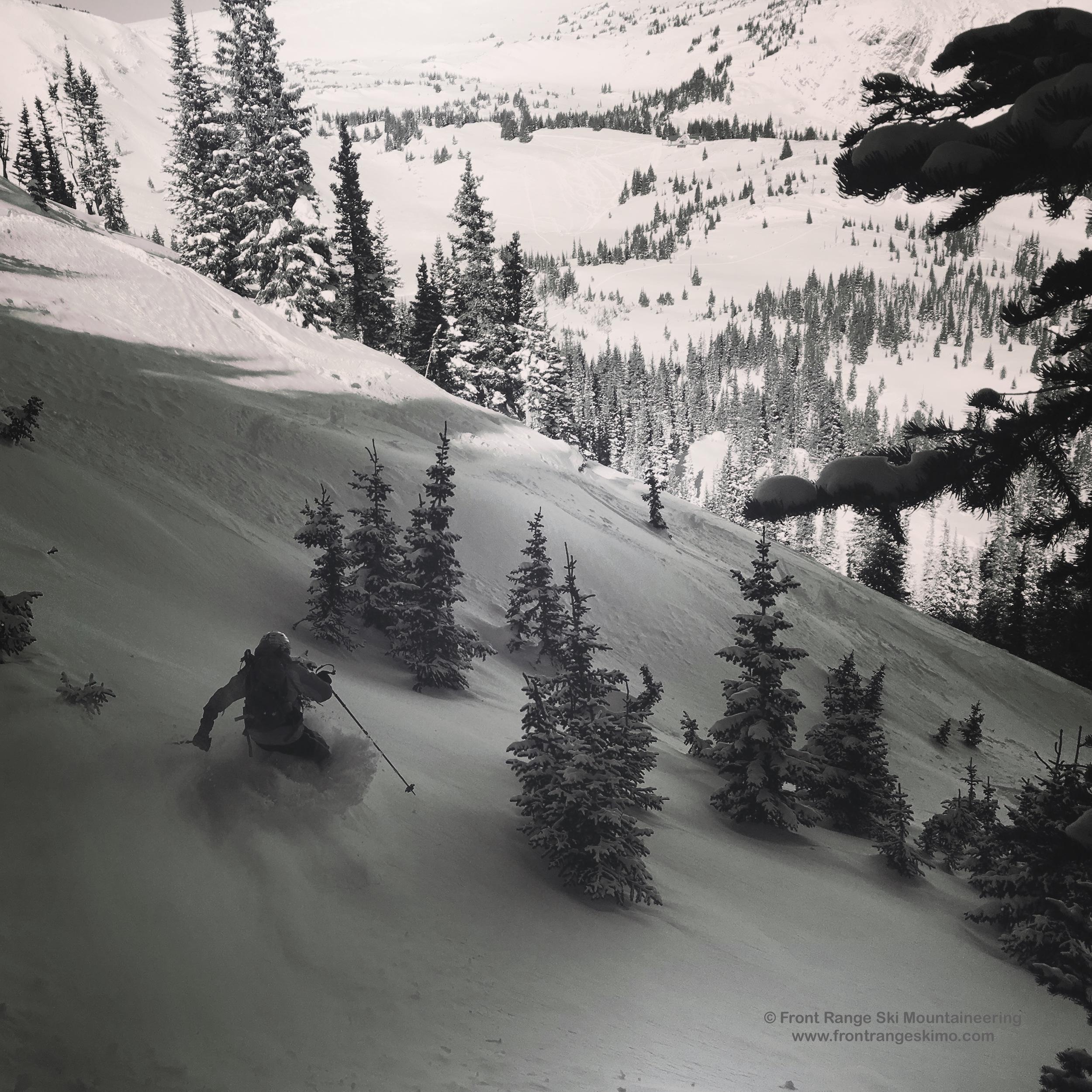 Skiing the Escape Hatch on Second Creek Ridge.