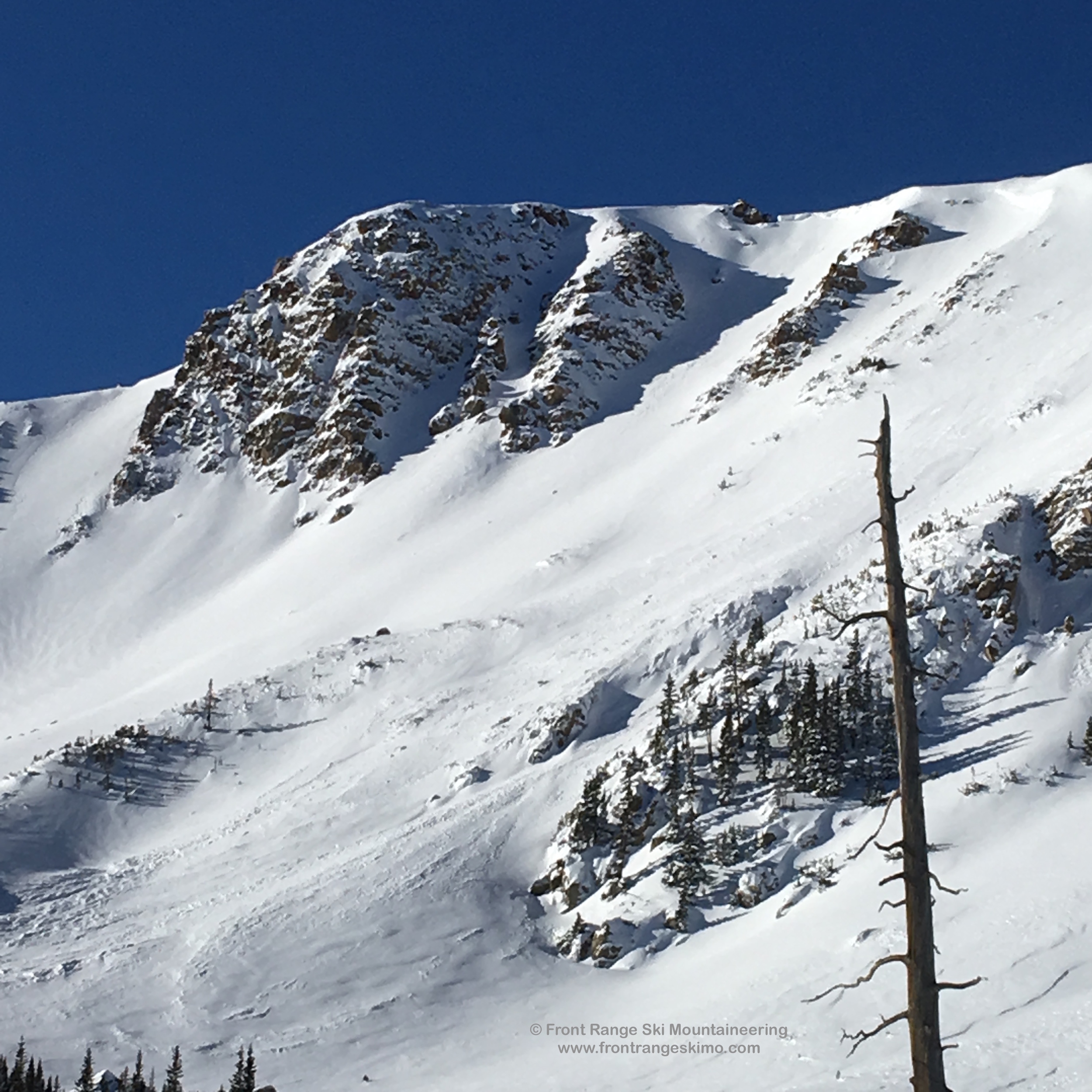 A closer look into Frankenstein on Second Creek Headwall.