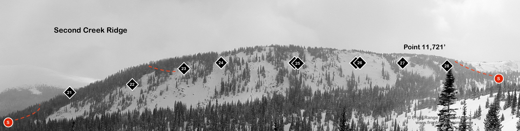 Second Creek Ridge as seen from First Creek Ridge.
