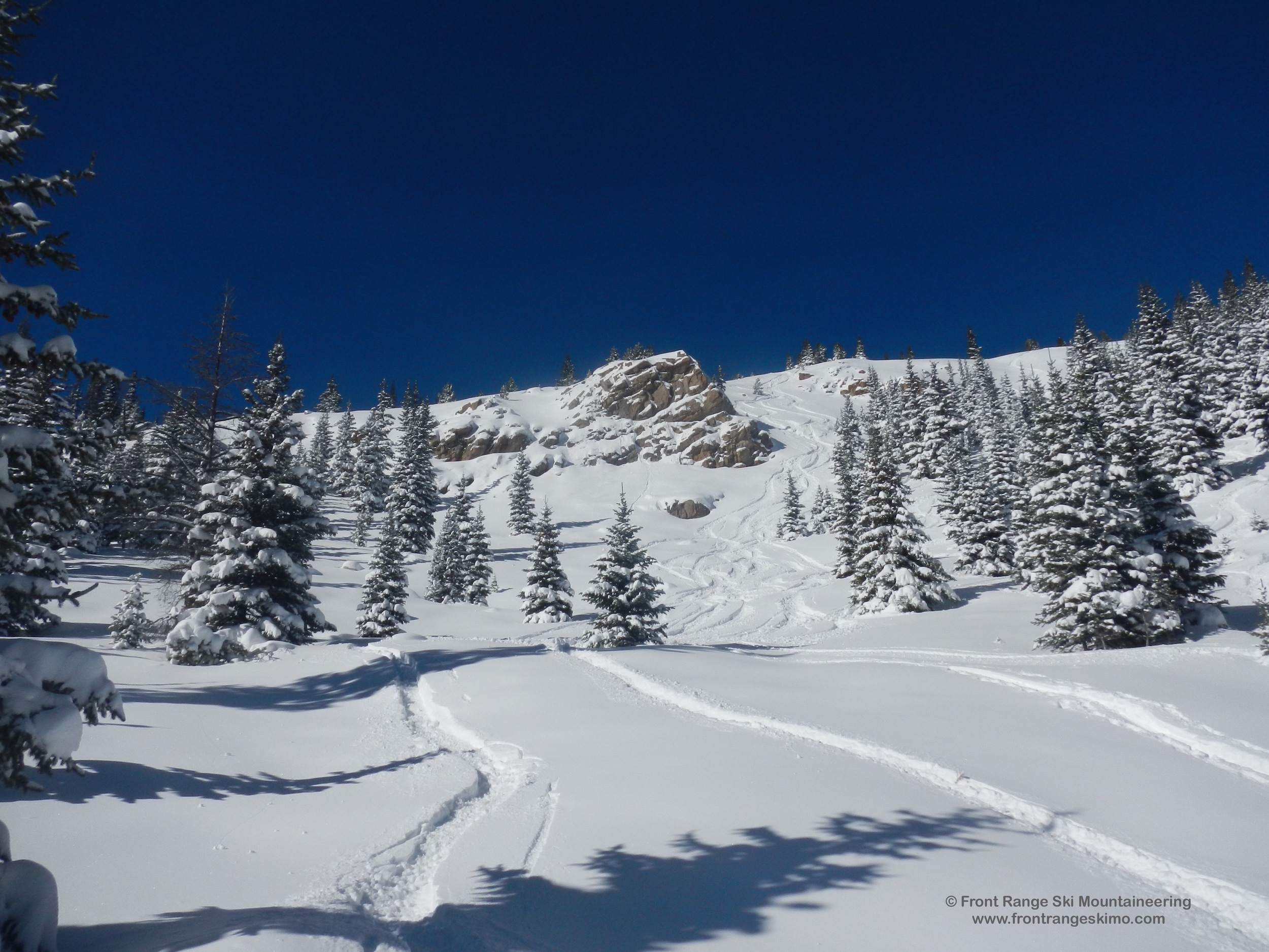 A view into the skier's left side of the 110 Cliffs.