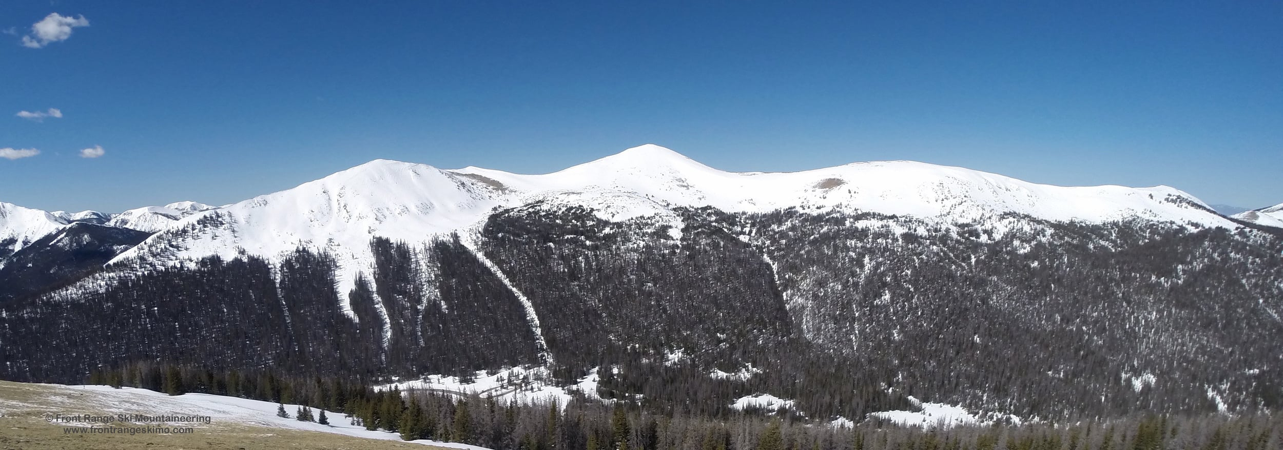 South Diamond Peak, North Diamond Peak, Point 11,588', and Montgomery Pass from the East.