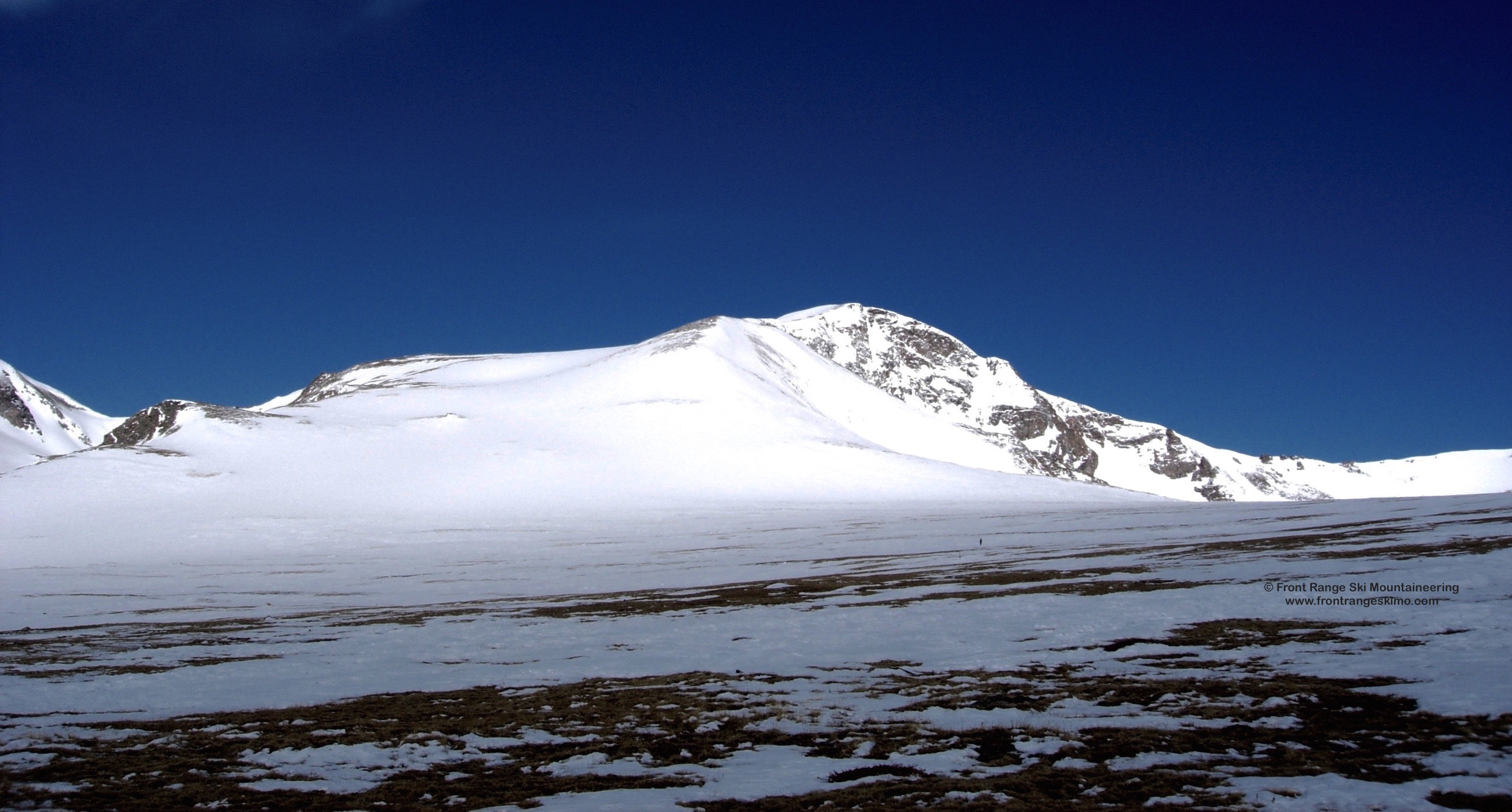 """James Peak Southeast Slopes seen from Jamaica Flat. You can see the top of """"Bailout""""."""