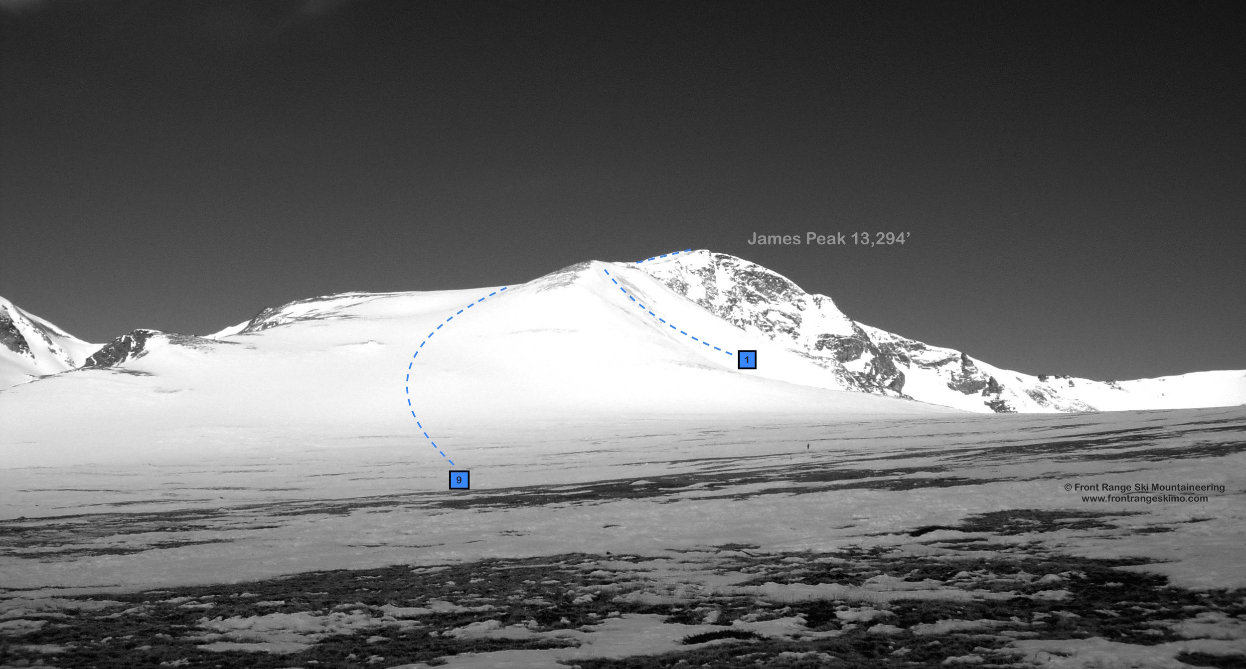 """James Peak Southeast Slopes seen from Jamaica Flat. You can see the top of """"Bailout"""" (1)."""