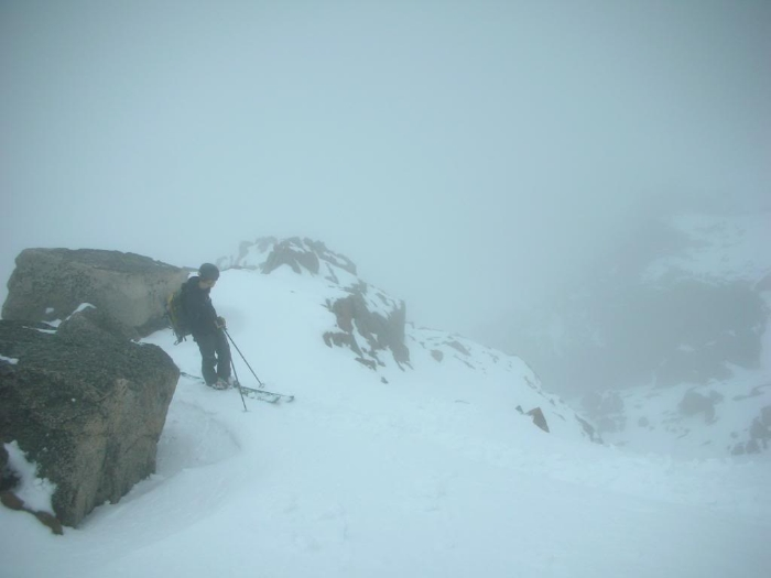 Skiing into the abyss on Mount Evan's North Face.