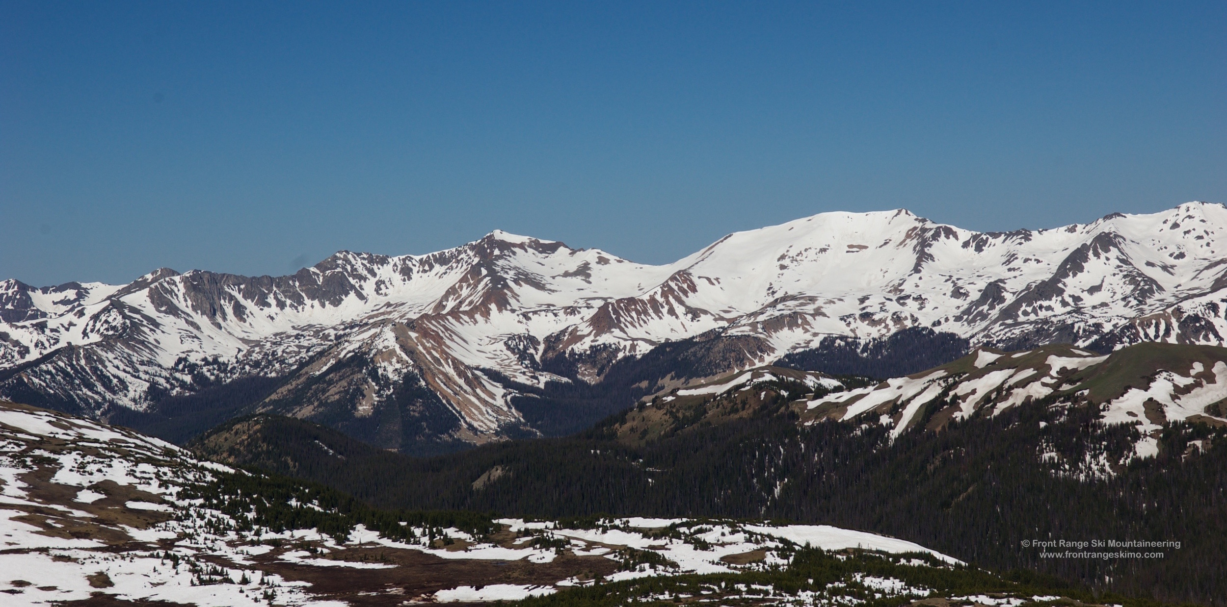 Mount Cumulus, Mount Nimbus, and Mount Stratus as seen from Trail Ridge Road.