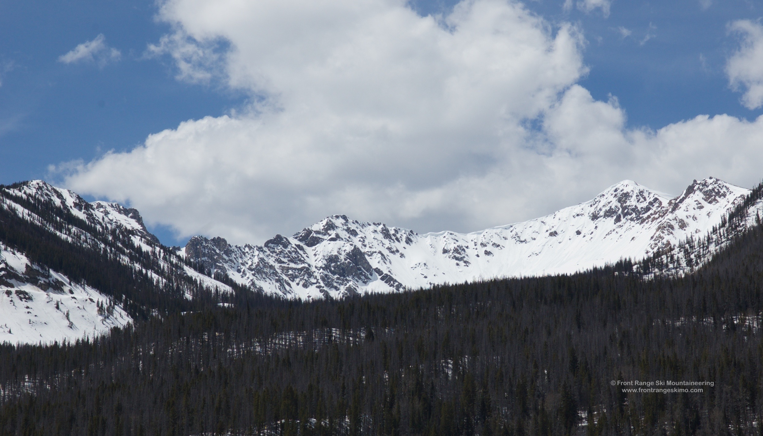 The south side of Mount Nimbus and North Side of Mount Stratus as seen from Trail Ridge Road north of Grand Lake.