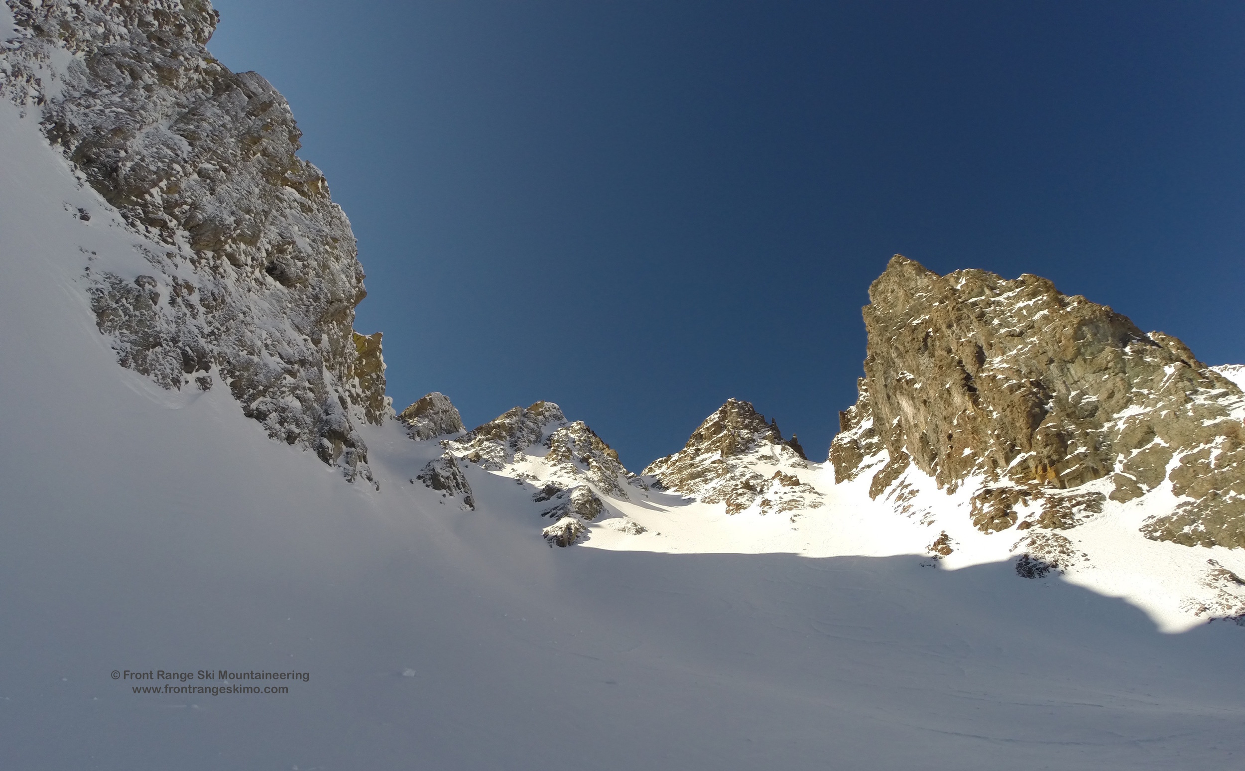 Looking up to Grand Central, Nokhouloir, and Breakfast Couloir.